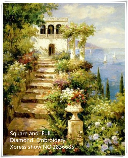 Scenery steps,5D Diamond Mosaic,Handmade Diamond Painting square ...