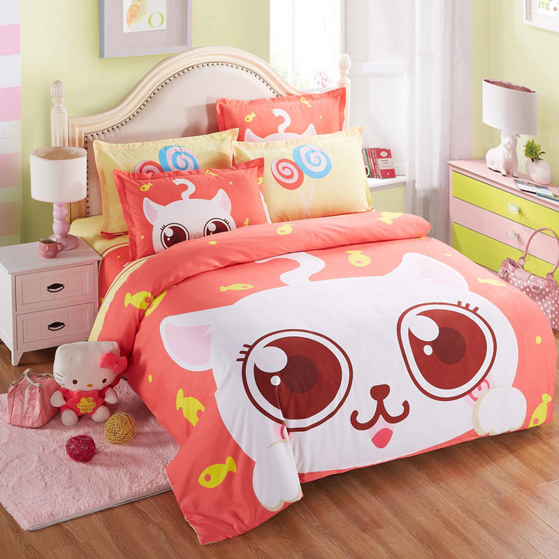 Home textile kawaii cotton bedding set cartoon orange for Lit queen size taille