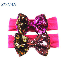 12pcs/lot Elastic Cotton Headband with 5 Messy Reversible Sequin Bow Winter Hairband Christmas Headwear Gift HB054