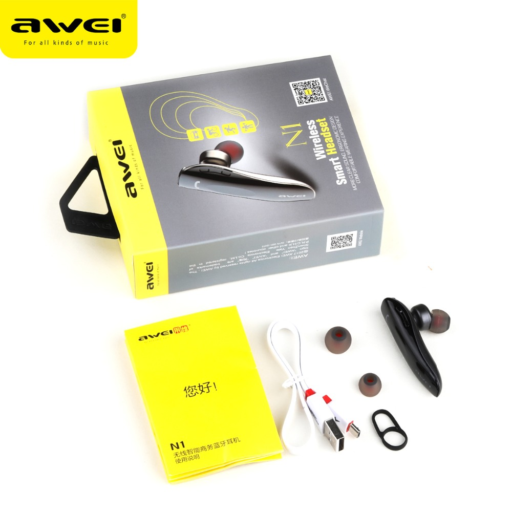 AWEI N1 Unilateral Bluetooth Headset for driving Stereo mini true Wireless Earphones with mic Handfree earbuds noise cancelling 6