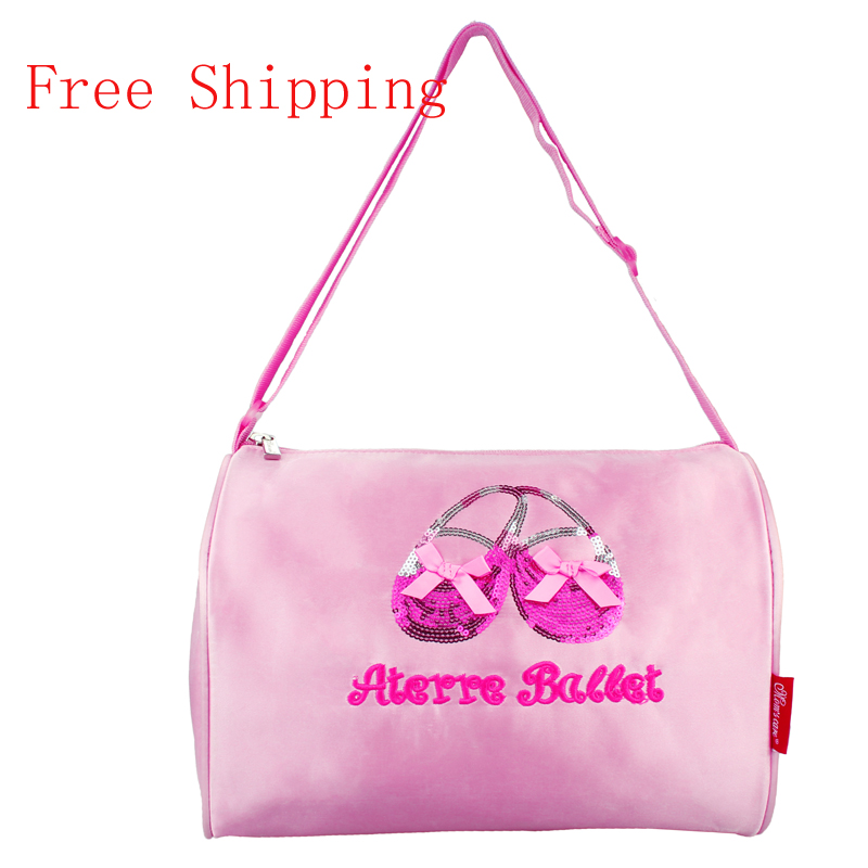 Free Shipping Lovely Pink Embroidered Shine Sequin Ballet Shoes Ballet Dance Crossbody Bag Girls Kids Handbags Nylon Canvas Bag