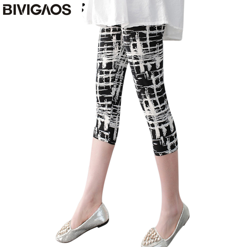 BIVIGAOS Women casual cropped trousers   leggings   flower striped black summer short   legging   pants stretchy spandex leggins