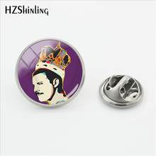 2018 Nuovo Freddie Mercury Spille Rock Star Pop Art Risvolto Spille Dei Monili Cabochon In Vetro A Mano Craft In Acciaio Inossidabile(China)