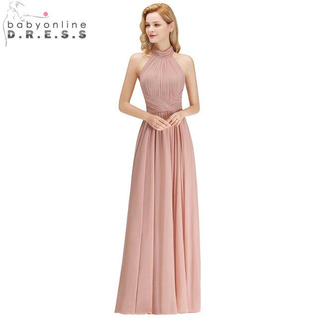b0797aa132df Customized 34 colors Halter Backless A-Line Chiffon Bridesmaid Dresses Long Wedding  Party Dresses Robe Demoiselle D'honneur