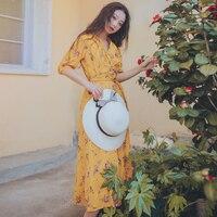 2019 Women France V Neck French Mid Calf Print Chiffon Dress Flower Empire Waist Half Sleeve Holiday Vintage Female Dresses