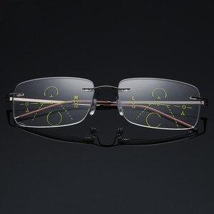 Image 4 - Óculos de leitura multifocal unissex, óculos de titânio para leitura, com lente multifocal, sem aro, para homens e mulheres, 2019