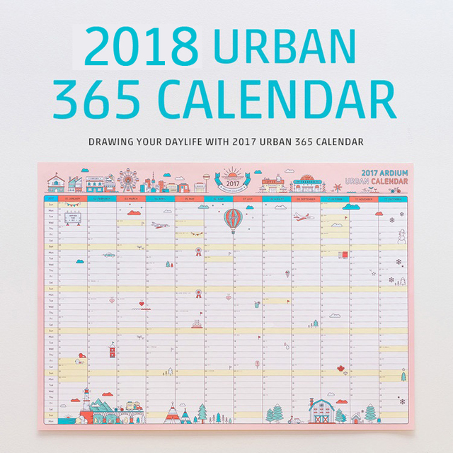 1 pcs korean cute cartoon wall calendar 2018 a2 365 day calendar creative schedule planning paper
