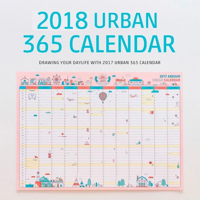 1 PCS Korean Cute Cartoon Wall Calendar 2018 A2 365 Day Calendar