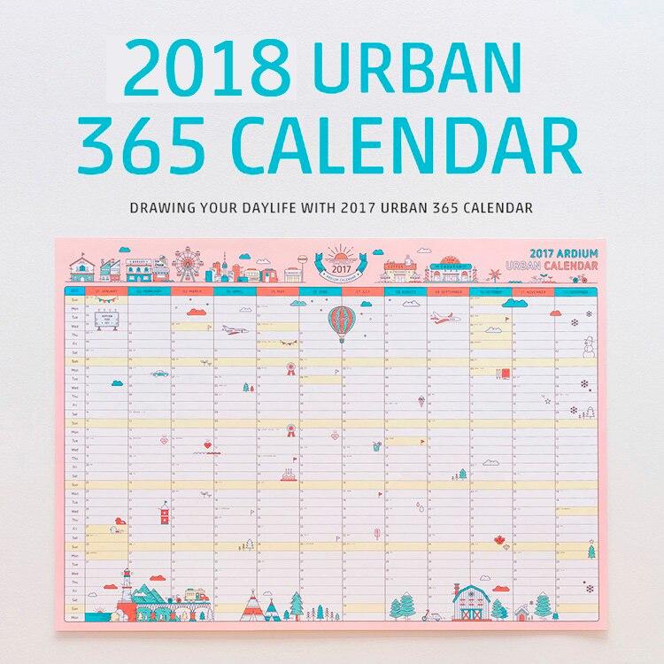 PräZise 1 Stücke Koreanische Nette Cartoon Wand Kalender 2018 A2 365 Tag Kalender Kreative Zeitplan Planung Papier 59*43 Cm Kalender