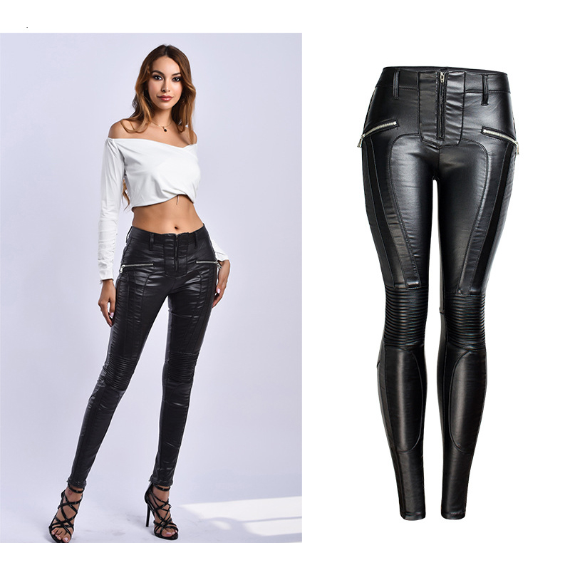 2019 Sexy PU Leather Slim Black   Jeans   Women High Waist Warm Inside Plus Size 3XL Skinny   Jeans   Pencil Pants Female Trousers