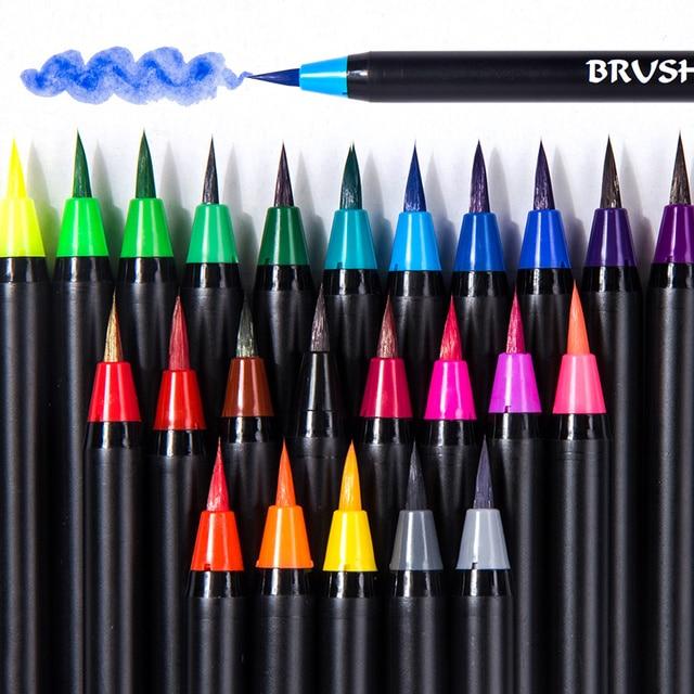 24/48 colores Premium de pincel de pintura suave conjunto de rotuladores de pintura de acuarela para colorear libros Manga Comic Art suppies