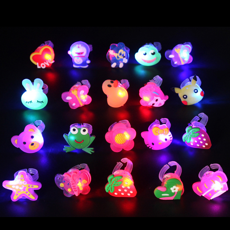 Creative Children's Luminous Flash Toy Finger Jewelry Ring Dance Party Dinner Party Birthday Gift For Kids