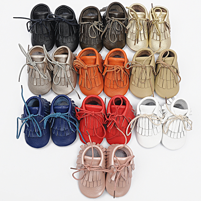 2017 New metallic baby moccasin boots lace up genuine leather shoes  tassels shoe boot toddler brown black gold pink