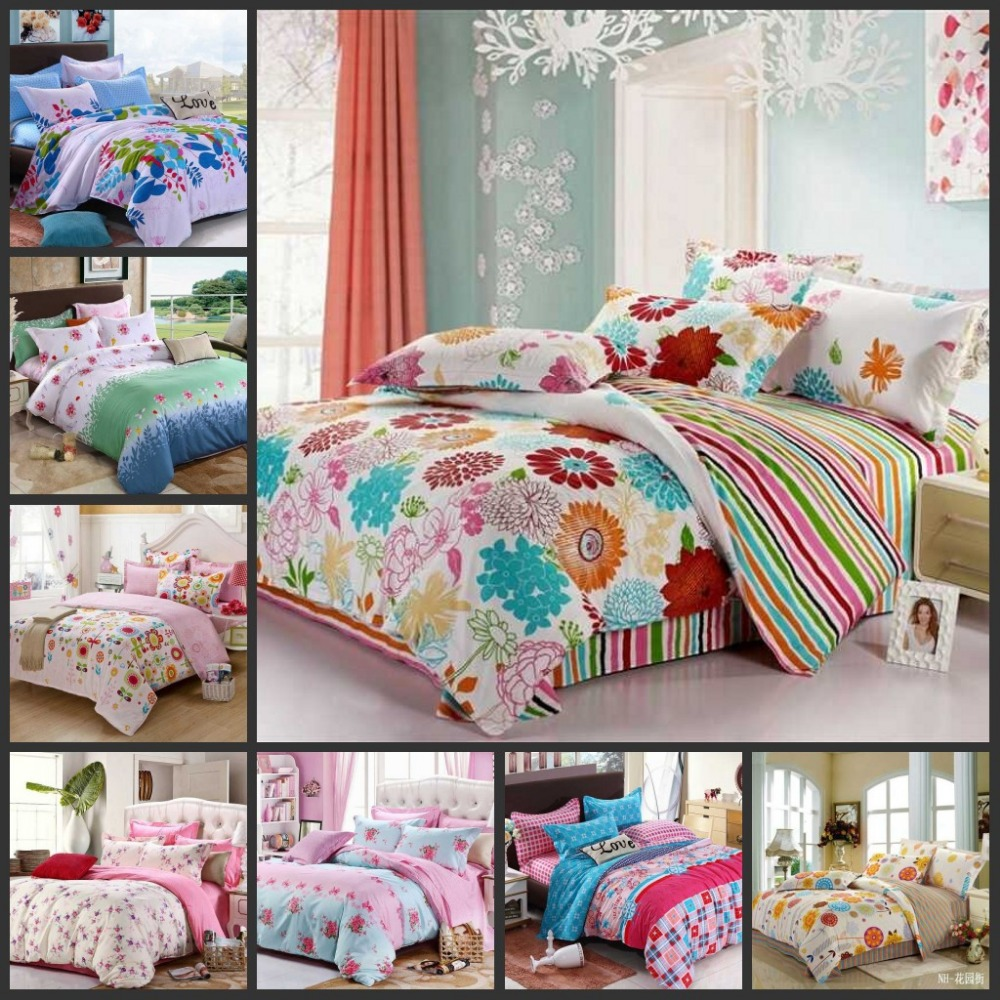 Various colorful beautiful flowers teen girls bedding sets for Queen size bedroom sets with mattress