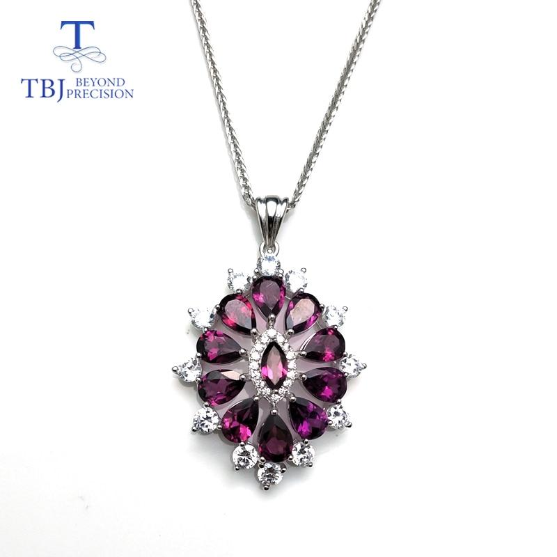 TBJ purple flower pendant with natural rhodolite garnet gemstone necklace 925 sterling silver romantic jewelry gift