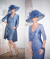 Бесплатная доставка халат de soiree 2016 новая мода vestido de festa крестная мать Синие Аппликации Мать невесты платья с курткой