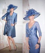 percuma penghantaran jaket soiree 2014 fesyen baru pakaian fesyen wanita ibu appliques biru pakaian pengantin dengan jaket