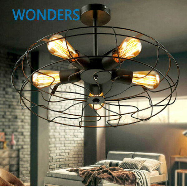 Rh Loft Vintage American Personality Style Electric Fan Ceiling Light With 5pcs E27 Edison