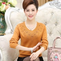 Genuine Women S Sweater XL Mother Fitted Hook Bottomed Shirt Long Sleeved V Neck Warm Sweater