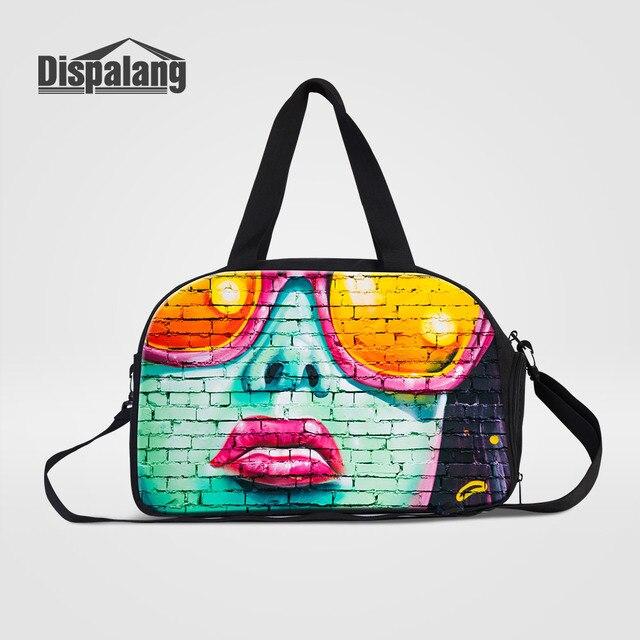 Dispalang Men Travel Bags Carron On Luggage Handbag Cool Wall Face Printing Duffle Male Sporty
