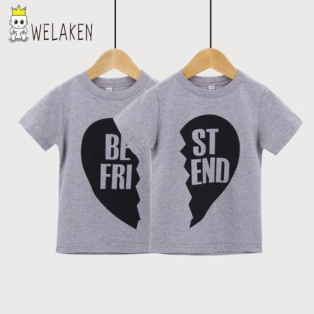 aebbeb99e weLaken Children T-shirt Little Best Friend Clothe Twin Matching Outfit Boy  Girls Tops Tees