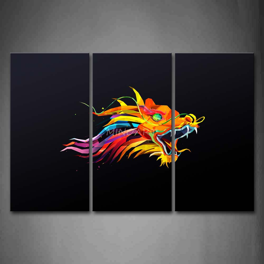 3 Piece Wall Art Painting Colorful Dragon Black