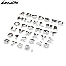 25mm DIY Letters Alphabet Emblem Chrome Car Stickers Digital Badge Automobiles Logo 3D Metal Accessories Motorcycle Sticker