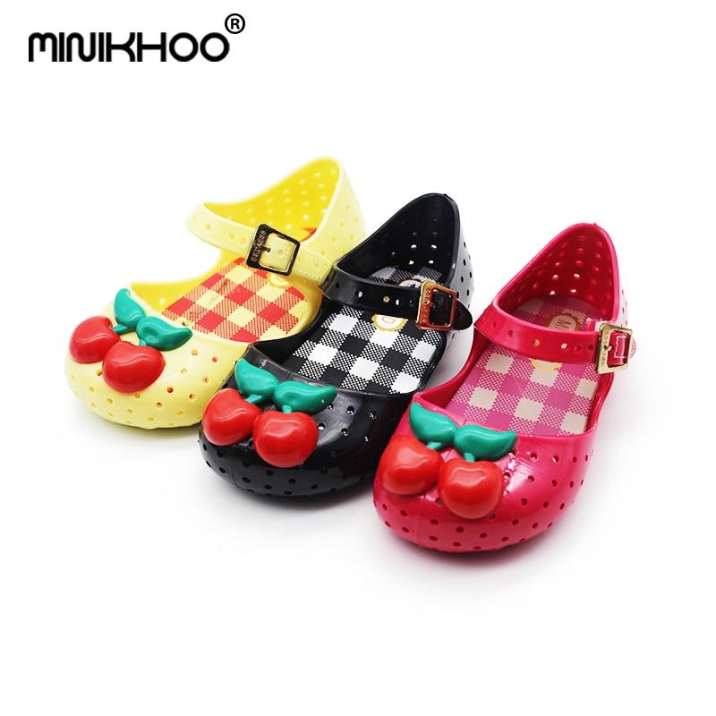Mini Melissa Original Brand Cherry Girl Jelly Sandals Hole Children Shoes Breathable Princess Sandals 14-16.5cm High Quality