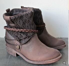 Patchwork bottes rétro dames botas mujer chaussures femme bottes femme moto talons bas bottines vintage hiver chaussures taille 43