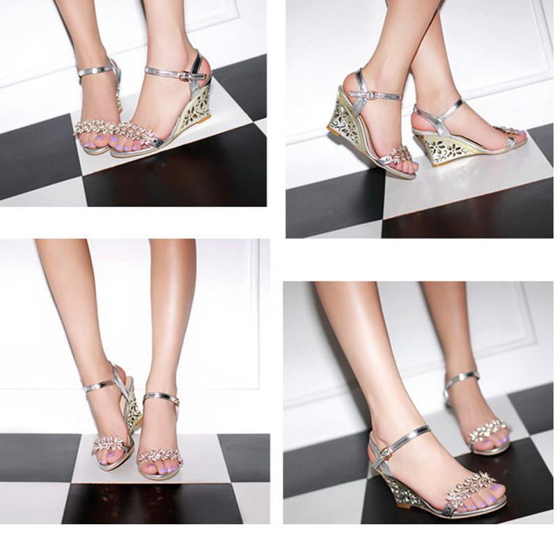 759e9fa08d312 REAVE CAT New arrival Glittering Fashion Fretwork Heels Wedges sandals  Rhinestone Silver Gold Summer sandals Sexy Sale QL4277-in High Heels from  Shoes on ...