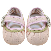 New Cute Infant Toddler Polka Dots Bowknot Crib Shoes Soft Sole First Walker Non-Slip Kid Girls Baby Shoes 0-18m
