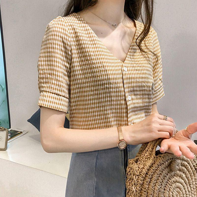 Women Tops   Blouse   Women's Korean Style Lattice Print V Neck   Blouse     Shirt   Fashion Clothing Short Sleeve Female Clothes Stylish