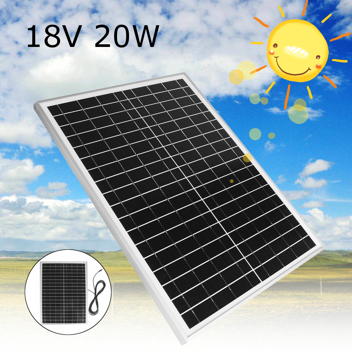 цена на 20W 18V Polycrystalline silicon Solar Panel module Cell for DIY Battery Power Charge Module for Camping Caravan Boat 46*35*2cm