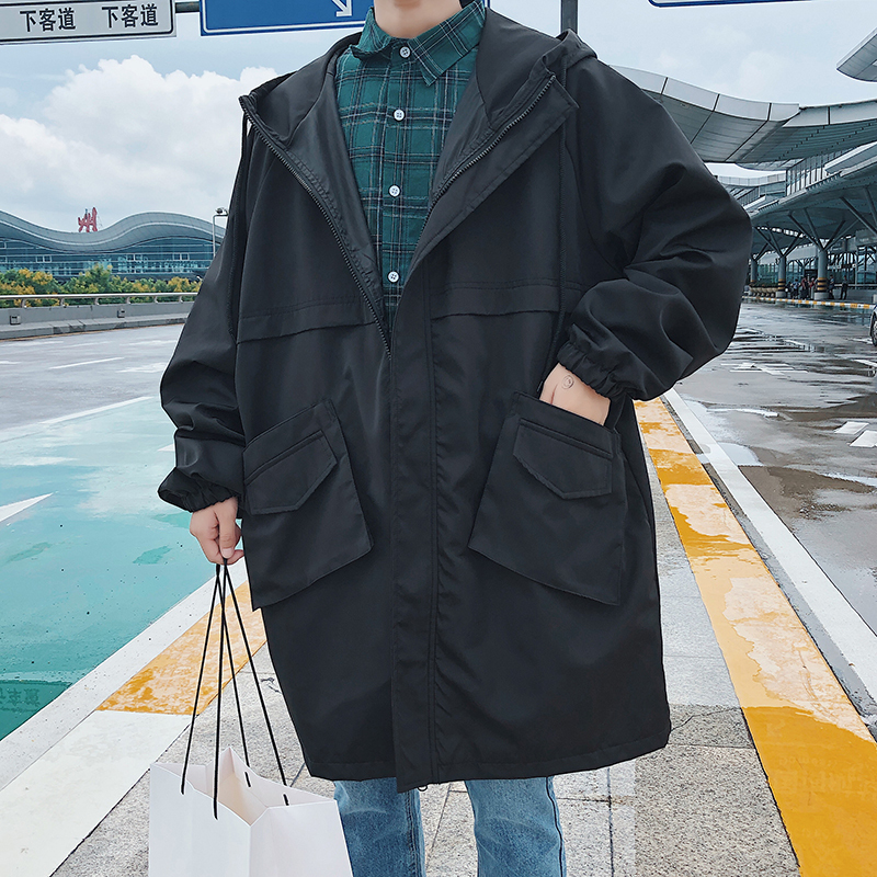 Fashion Casual Men 39 s Jacket Autumn And Winter New M 5XL Long Section Loose Top Coat Black Dark Gray Personality Youth Popular in Jackets from Men 39 s Clothing