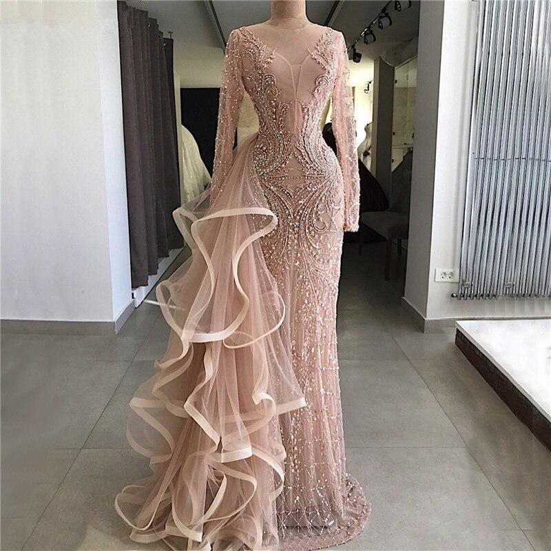 Luxurious Muslim   Evening     Dresses   2019 Mermaid Long Sleeves Tulle Beaded Long Islamic Dubai Saudi Arabic Long Formal   Evening   Gown