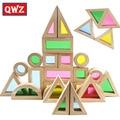 Qwz creativo de acrílico del arco iris torre pila de bloques de construcción de juguetes educativos para niños diy assemblage educativos de madera regalos