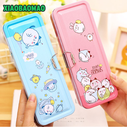 Double Deck Iron Case Pencil Box, Pink / Blue Kawaii Animal Metal Double Layer Pencil Case for School StudentsDouble Deck Iron Case Pencil Box, Pink / Blue Kawaii Animal Metal Double Layer Pencil Case for School Students