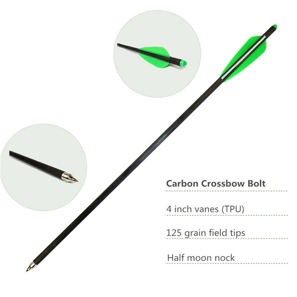 Crossbow Bolts 6 12 Pack Carbon Archery Arrows With 125 Grian Field Tips And Plastic Vanes For Competition Hunting Pracice in Bow Arrow from Sports Entertainment
