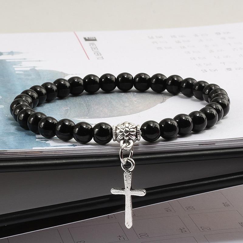 6mm Boho Natural Blue Turquoises Beads Bracelet Men Cross Pendant Black Volcanic Stone Strand Bracelets for Women Charm Jewelry