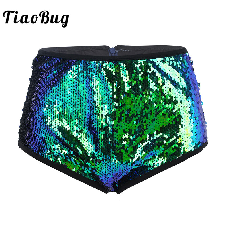 TiaoBug Women Shiny Glittery Sequins <font><b>Festival</b></font> Rave Stage Dance Costume High Waist <font><b>Sexy</b></font> Booty Shorts Club Party Pole Dance Shorts image