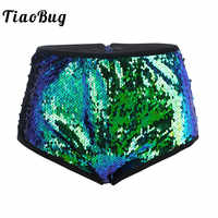 TiaoBug Women Shiny Glittery Sequins Festival Rave Stage Dance Costume High Waist Sexy Booty Shorts Club Party Pole Dance Shorts