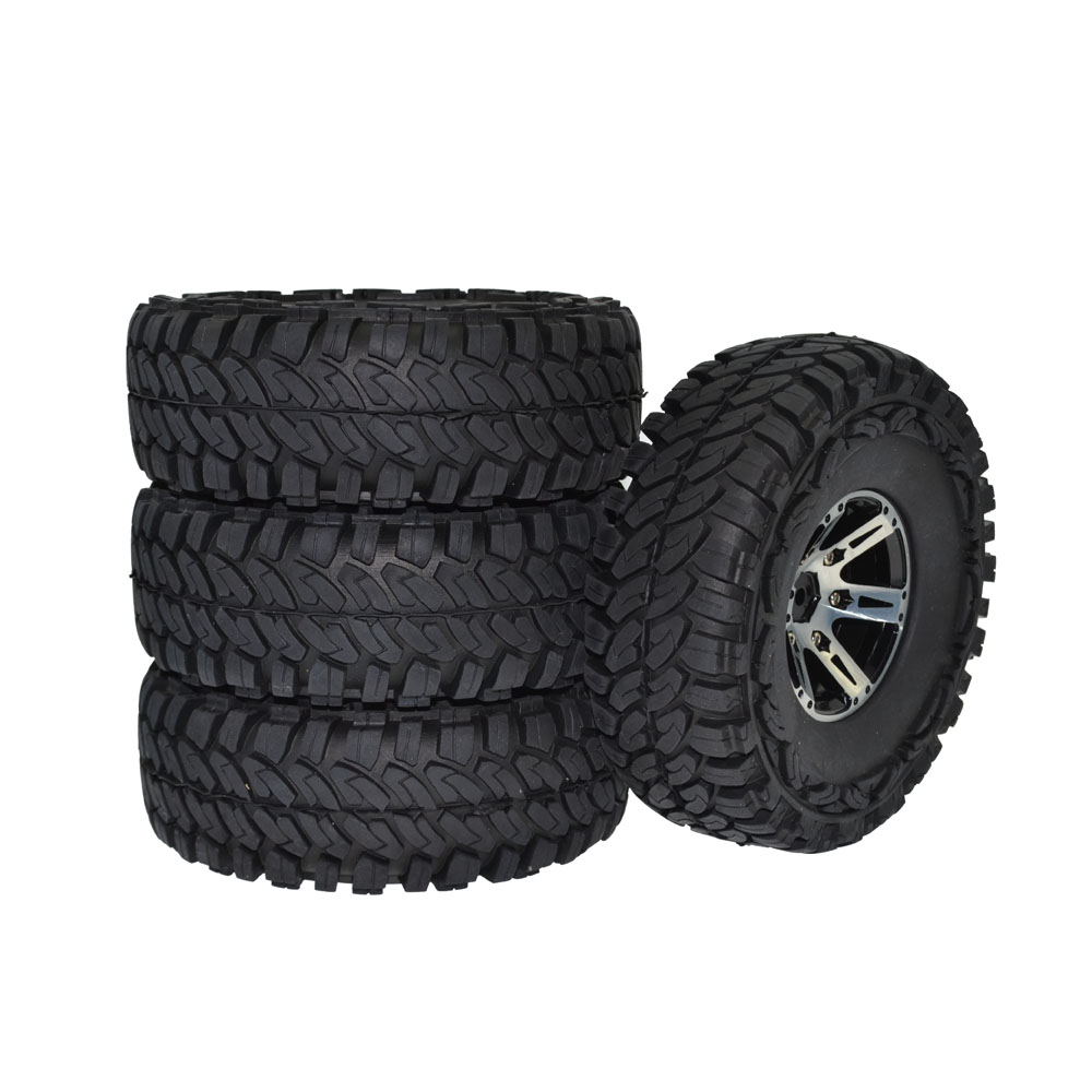 купить 4PCS 114MM 1.9 Inch rubber Tires & Metal Beadlock Wheel Rim for 1/10 RC Rock Crawler Axial SCX10 90046 Traxxas TRX-4 TRX4 по цене 2937.49 рублей
