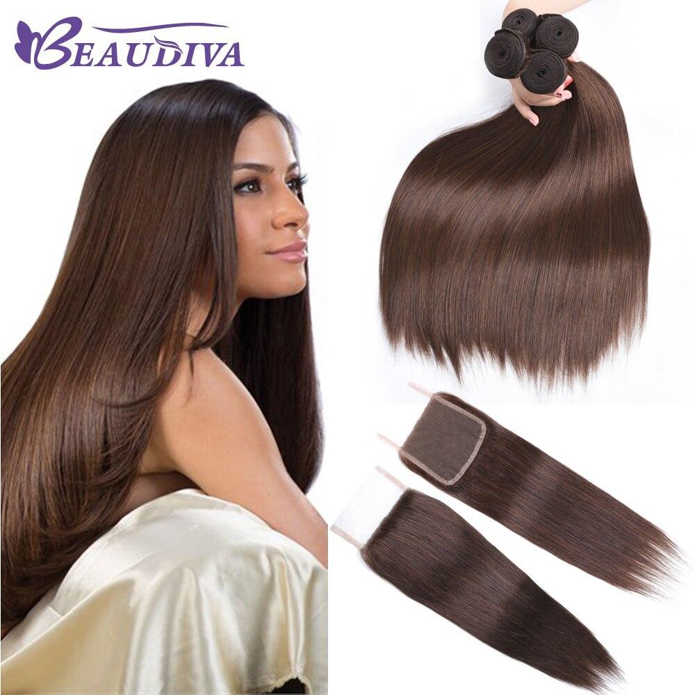 BEAUDIVA Pre Colored Peruivan Straight Human Hair Bundles with 4 4 Lace Closure 4 Medium Brown