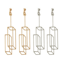 2017 fashion simple solid geometry rectangle visual character stud earrings girl beautiful WE220