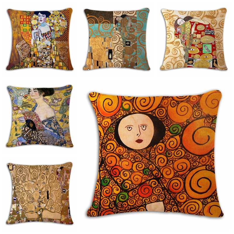 18 Square Gustav Klimt Pattern Cotton Linen Throw Pillow Case Cushion Cover Home Bed Decor Pillowcase Customized Drop Shipping
