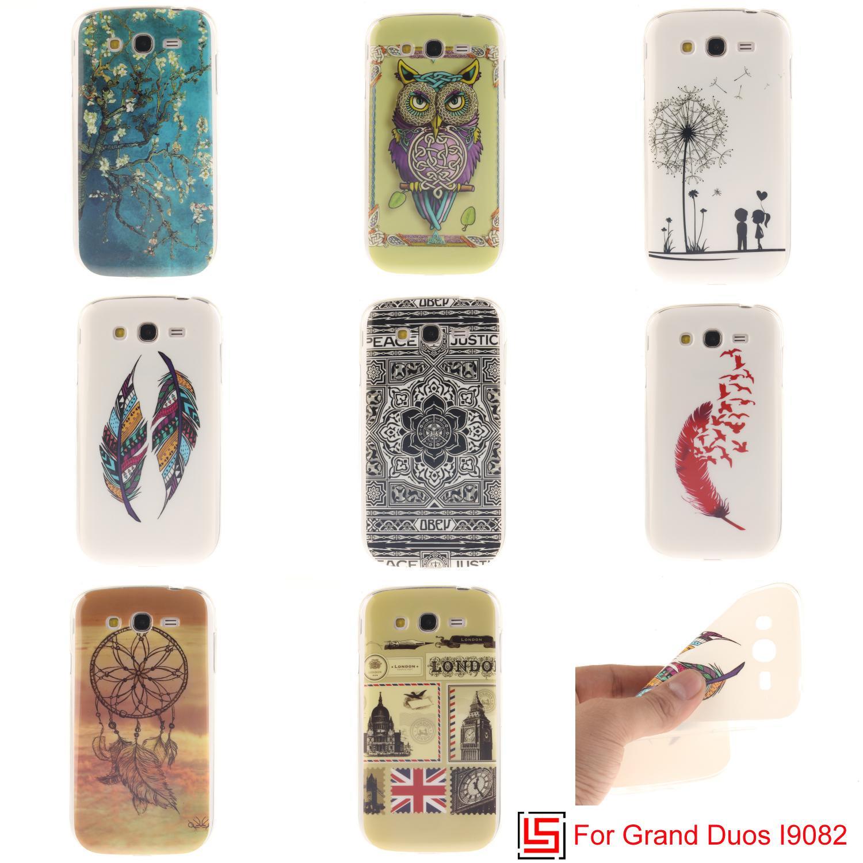 Ultra fino TPU silicona suave teléfono m³vil caso coque fundas cubierta para Samsung Galaxy Grand duos I9082 GT I9082 flor