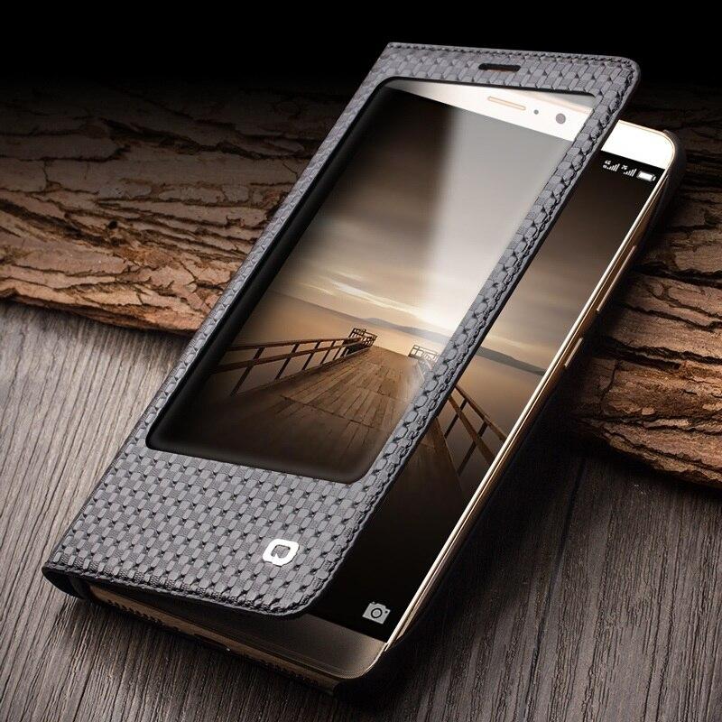 Цена за Для Huawei Mate 9 QIALINO для Huawei Mate 9 Сетка Текстуры натуральная Воловья Кожа Smart View Окно Дело Бизнес Чехол-5.9''