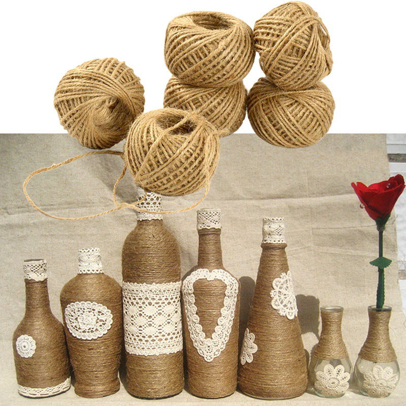 30m twisted burlap jute twine rope natural hemp cord string craft diy home decor in cords from Home decoration with jute