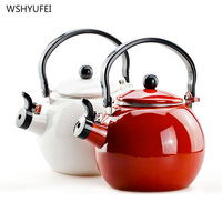 Whistle pot Thickening of the enamel whistling kettle electromagnetic furnace enamel ring kettle tea urn red white and red color