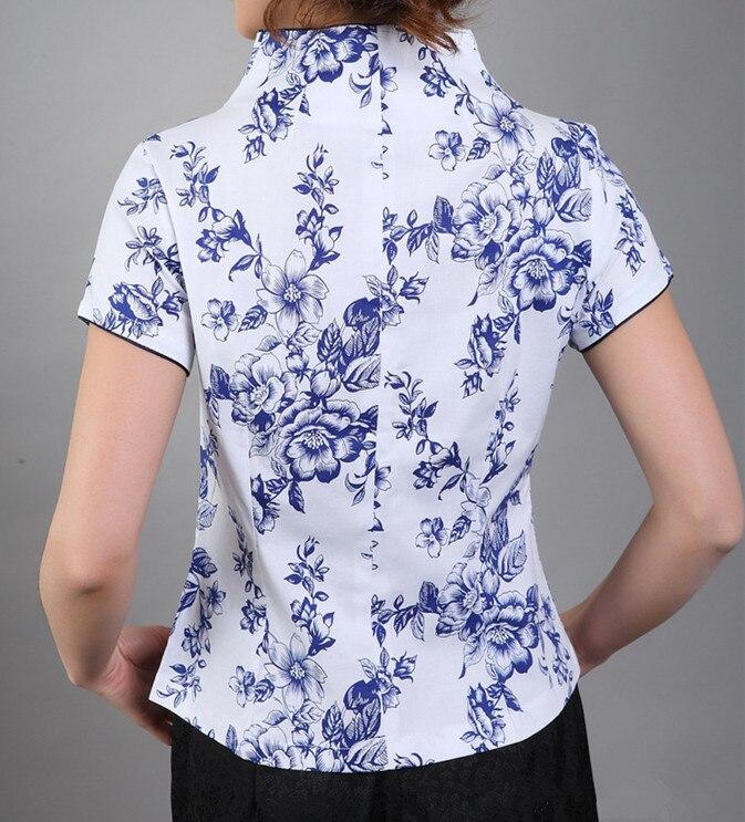 Новое поступление синий Винтаж китайский Для женщин хлопковая рубашка с v-образным вырезом Топ Рубашка с короткими рукавами цветок Размеры S M L XL XXL XXXL Mny-000B